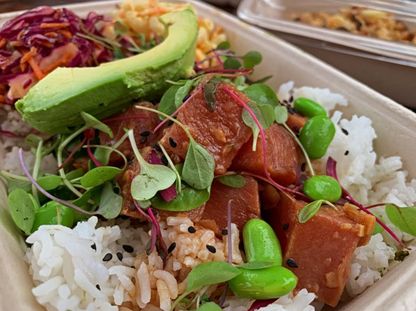 TRUCK TO TABLE Field to Table's ahi poke bowl comes with avocado, edamame, white rice, and furikake. - PHOTOS BY CAMILLIA LANHAM