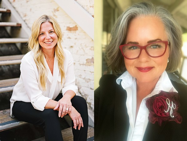 RAISING MONEY Mayoral challenger Cherisse Sweeney (left) has a fundraising edge over incumbent Heidi Harmon, according to the latest SLO city campaign finance disclosures. - PHOTOS COURTESY OF CHERISSE SWEENEY AND HEIDI HARMON