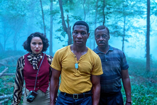 SPLATTER FEST HBO's Lovecraft Country mixes campy horror with Jim Crow-era racism to create a gleefully fun series starring (left to right) Jurnee Smollett, Jonathon Majors, and Courtney B. Vance. - PHOTO COURTESY OF MONKEYPAW PRODUCTIONS