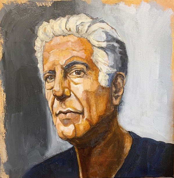 BREAK THE RULES Elizabeth Chaney of Nipomo has this 12-by-12-inch oil painting of Anthony Bourdain on display. - COURTESY IMAGE BY ELIZABETH CHANEY
