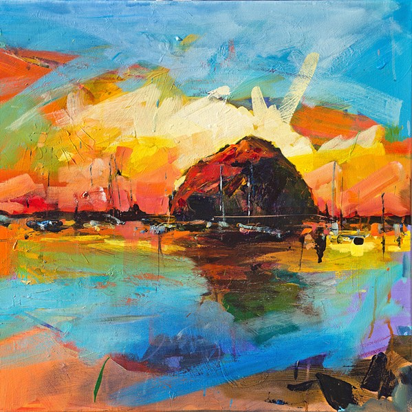 SUNSET AT THE ROCK SLO Town's Drew Davis, a Best Visual Artist winner in the New Times Readers' Poll, has offered this colorful 24-by-30-inch oil of Morro Rock. - COURTESY IMAGE BY DREW DAVIS
