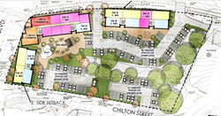 POTENTIAL One of HASLO's conceptual site designs shows what an affordable housing unit near the intersection of Oak Park Boulevard and Chilton Street in Arroyo Grande could look like. - SCREENSHOT FROM ARROYO GRANDE STAFF REPORT