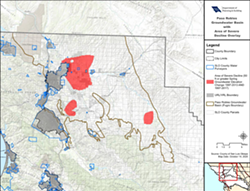 """NEW MAP San Luis Obispo County removed tens of thousands of acres from the Paso Robles Groundwater Basin's """"area of severe decline"""" on Nov. 17. - IMAGE COURTESY OF SLO COUNTY"""
