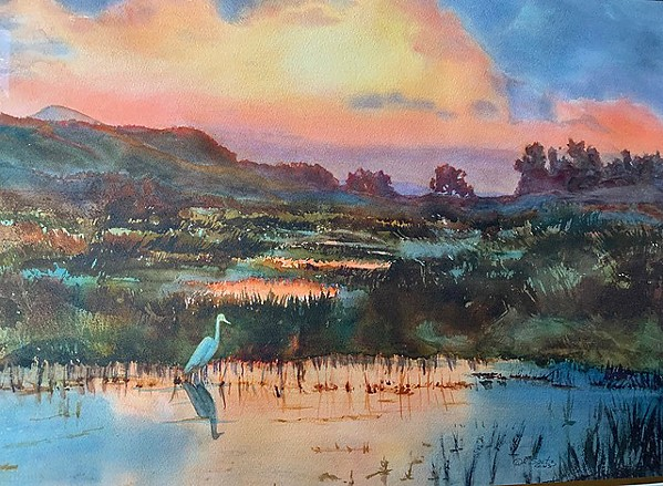 """LAGUNA WETLANDS This 22-by-30-inch was developed in the studio from a photo captured on Foothill Boulevard in SLO because there was """"no place to safely pull over or set up."""" - COURTESY IMAGE BY ROSANNE SEITZ"""