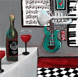 THE MUSIC NEVER STOPPED Orcutt artist Lori Mole's desk calendar highlights 12 of her acrylic paintings, including Rockin' Cab, featured on the September page, which was inspired by a Cajun restaurant she once visited in Chicago. - COURTESY IMAGE BY LORI MOLE