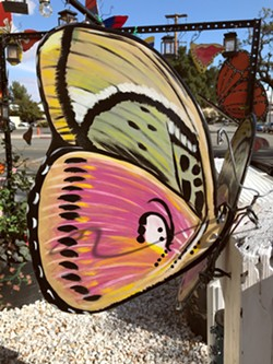 PRETTY IN PINK Butterflies of all shapes and sizes adorn the walls, trees, and gardens around the Deprise Brescia Art Gallery in Paso Robles. - PHOTO COURTESY OF DEPRISE BRESCIA