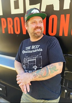 THE GRINNING BEAR Chef Brenen Bonetti is ready to help you get your food truck fix by cooking up fried chicken sandwiches with sweet sides, like chicken fried onion rings and mac 'n' cheese. - PHOTOS COURTESY OF BRENEN BONETTI