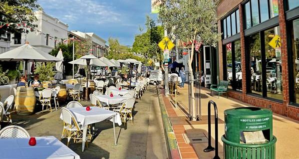 Parklet dining on Monterey Street in San Luis Obispo. - FILE PHOTO BY PETER JOHNSON