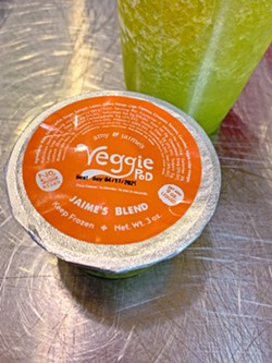 HAVE A GREENIE The Paniaguas launched Veggie Pods, a fresh frozen juice company, in 2019. The green blend contains ginger, cayenne, spirulina, and bananas. - PHOTOS BY CAMILLIA LANHAM