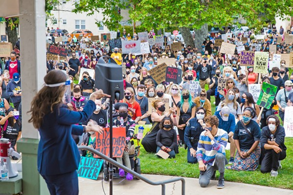 CALLS FOR CHANGE In response to Black Lives Matter protests last summer (pictured), San Luis Obispo assembled a Diversity, Equity, and Inclusion Task Force. On Jan. 12, that task force outlined a set of policy recommendations to the City Council. - FILE PHOTO BY JAYSON MELLOM