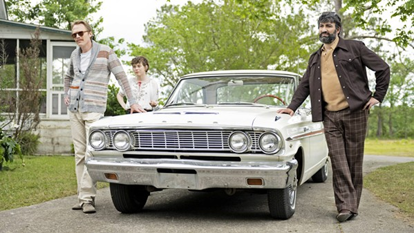 ROAD TRIP (Left to right) Frank Bledsoe (Paul Bettany); his niece, Beth (Sophia Lillis); and Frank's boyfriend, Wally (Peter Macdissi), travel from NYC to Paul and Beth's family home in South Carolina for Frank's father's funeral, in the comedy-drama Uncle Frank, screening on Amazon Prime. - PHOTO COURTESY OF AMAZON STUDIOS