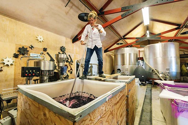 BUTTON DOWN HATCHES Karen Steinwachs (pictured), winemaker at Buttonwood Farm, Winery, and Vineyard in Solvang, described the daily punchdown routine as a calming experience. Her story starts on page 156 of Vines & Vision. - COURTESY PHOTOS BY © MACDUFF EVERTON 2020