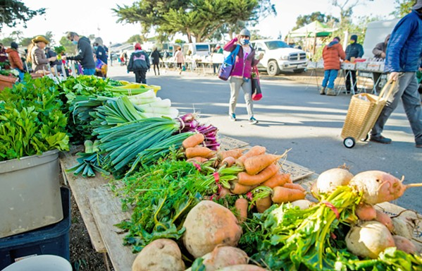 DIFFERENT PLAYING FIELD Although the Downtown SLO Farmers' Market has been on hold for nearly 10 months, smaller day markets, such as the Monday afternoon market in Los Osos (pictured), continue to operate with safety precautions in place. - PHOTO BY JAYSON MELLOM