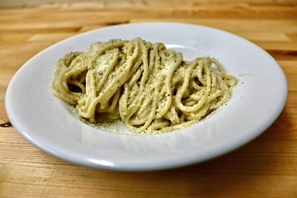 DELICATE EXPLOSION Tonnarelli cacio e pepe is a creamy flavor bomb with thin hand-cut spaghetti alla chitarra, Parmigiano, pecorino, and fresh cracked black pepper. - PHOTO COURTESY OF CHEF ANTONIO'S ITALIAN KITCHEN