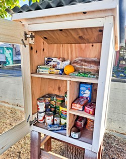 ACCESSIBLE Little pantries like this one popped up in San Luis Obispo neighborhoods during the pandemic as a way to help those in need get access to food. - PHOTO COURTESY OF ETHAN STAN