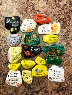 YOU ROCK Nipomo resident Lynn Borges started painting rocks and leaving them around town to cheer people up during the pandemic. Now she's a small-town icon. - PHOTO COURTESY OF LYNN BORGES