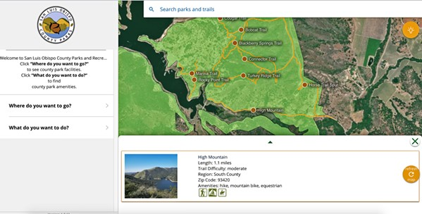 NEW ADVENTURES SLO County residents can explore trails the county has to offer, such as High Mountain in South County, through the SLO County Parks and Recreation website. - SCREENSHOT FROM SLOCOUNTYPARKS.COM