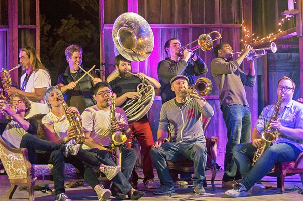 PHAT HORNS Catch the funk and pop mash-ups of horn ensemble Brass Mash on March 5 at Liquid Gravity. - PHOTO COURTESY OF BRASS MASH
