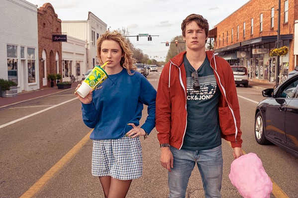 AROUND THEY GO Mark (Kyle Allen) and Margaret (Kathryn Newton) discover they're trapped in the same Groundhog Day-like time loop, in the charming YA rom-com The Map of Tiny Perfect Things, screening on Amazon Prime. - PHOTO COURTESY OF FILMNATION ENTERTAINMENT