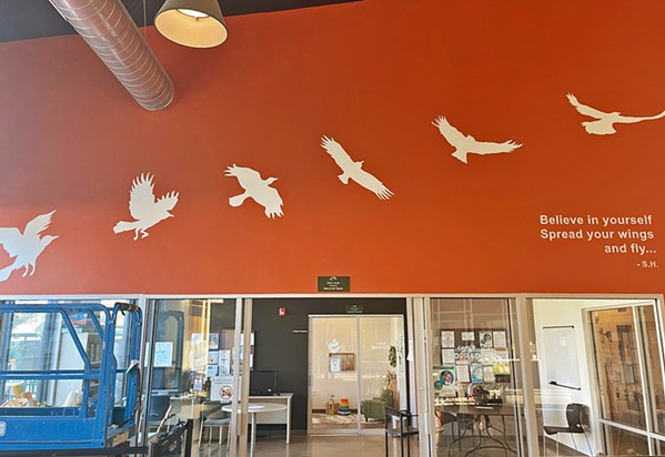 RISING ABOVE Abbey Onikoyi created this mural of a bird taking flight at 40 Prado. The piece was inspired by the work and clients of the homeless shelter. - PHOTO COURTESY OF CAPSLO