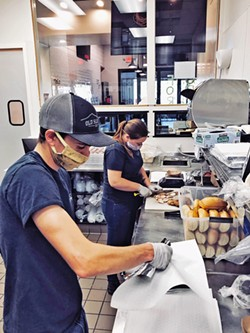 PANDEMIC PIVOTS Similar to all restaurants, Old SLO BBQ had to change things up after the pandemic arrived on the Central Coast, including masking up and offering to-go food only. - PHOTO COURTESY OF CATT HASBROOK
