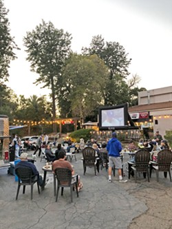 OUTDOOR THEATER You can find out what movies are showing at CCB by visiting its Facebook page. Residents flocked to the brewery to watch the Dodgers play in the World Series in 2020. - PHOTO COURTESY OF GEORGE PETERSON