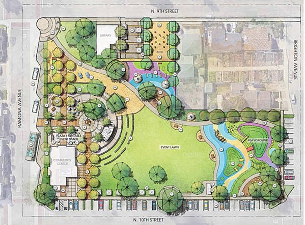 A NEW VISION Grover Beach plans to demolish an existing gazebo at Ramona Garden Park and replace it with fitness and educational space, along with the addition of a new playground and enhanced amphitheater. - IMAGE FROM GROVER BEACH STAFF REPORT