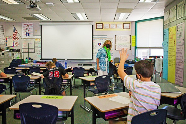 FACE-TO-FACE Thanks to COVID-19, in-person classrooms like this one at Kermit King Elementary School in Paso Robles look a lot different than they used to, and that can be intimidating to people who would normally substitute teach. - PHOTO BY JAYSON MELLOM