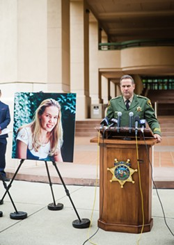 ANNOUNCEMENT Speaking at Cal Poly, SLO County Sheriff Ian Parkinson said the Sheriff's Office arrested Paul and Ruben Flores on April 13 in connection with Kristin Smart's 1996 disappearance. - PHOTO BY JAYSON MELLOM