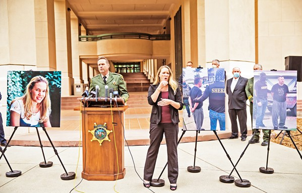 ALMOST A QUARTER CENTURY LATER SLO County Sheriff Ian Parkinson holds a press conference on April 13 to announce the arrests of Paul and Ruben Flores on suspicion of murder and accessory to murder in connection with missing Cal Poly student Kristin Smart. Law enforcement officials haven't located her body. - PHOTO BY JAYSON MELLOM