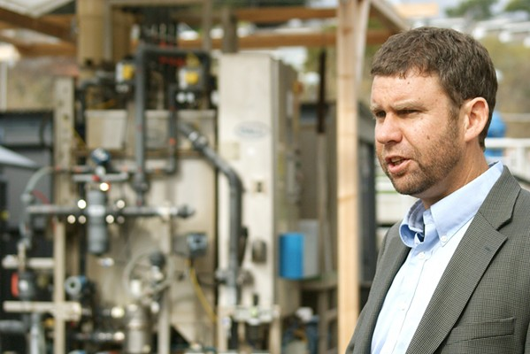 HIGH STAKES Water Systems Consulting Engineer Dan Heimel leads a 2019 tour of a water recycling facility. The Central Coast Blue project would inject treated wastewater into the Santa Maria Valley Groundwater Basin. - FILE PHOTO BY AIDAN MCGLOIN