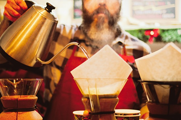 POUROVER Corberosa Coffee roaster Mathew Wilkins brews up a couple of batches of his coffee. (Correction: The initial version of this story misattributed the photographer of this photo. The photo credit was updated to reflect that Annette Sousa took this photo.) - COURTESY PHOTO BY ANNETTE SOUSA