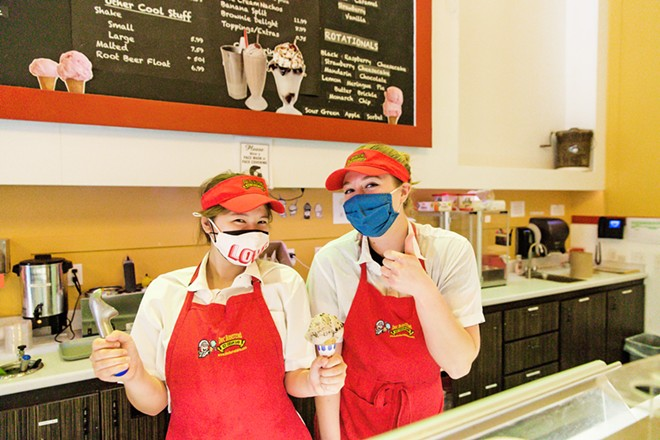 SCREAM FOR IT Doc Burnstein's Ice Cream Lab employees Mia Berg (left) and Marie Althaus Best are ready to serve you the Best Ice Cream. - PHOTO BY JAYSON MELLOM