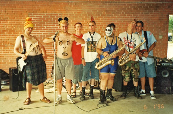 AH, YOUTH Author Aaron Carnes (second from left) with his former ska band, Flat Earth, somewhere in Texas circa 1996. - PHOTO COURTESY OF AARON CARNES
