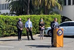 SAFE PARKING FOR ALL At a press conference in Santa Barbara on May 3, U.S. Rep. Salud Carbajal (D-Santa Barbara) introduced the Naomi Schwartz Safe Parking Program Act. - PHOTO COURTESY OF MANNAL HADDAD