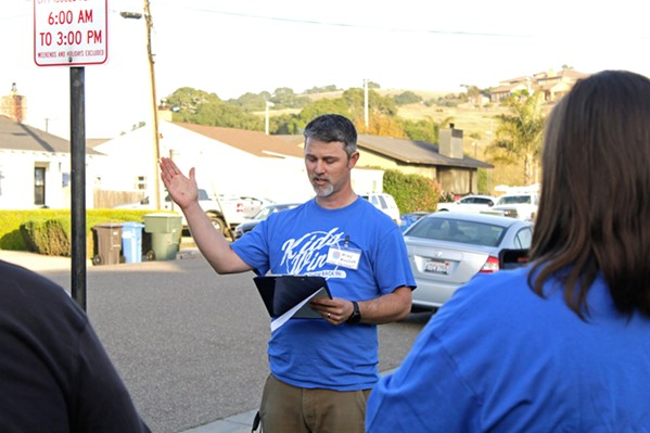 'ENOUGH IS ENOUGH' At a rally outside the Lucia Mar Unified School District office on May 4, Michael Mulder, vice president of Central Coast Families for Education Reform, announced plans to recall three of the district's board members. - FILE PHOTO BY KASEY BUBNASH