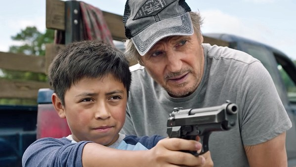 BREATHE OUT AND SQUEEZE Arizona rancher Jim Hanson (Liam Neeson, right) helps Miguel (Jacob Perez) escape a Mexican drug cartel trying to kill him, in The Marksman, now available at Redbox. - PHOTO COURTESY OF CUTTING EDGE GROUP