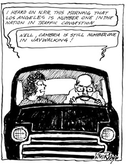 IN WHICH HOMETOWN PRIDE IS IMPORTANT Many of Van Rhyn's comics, some of which were cooked up on deadline day, skewer Cambria's sleepy reputation where people drive at glacial speeds and tourists wander aimlessly in the streets. - CARTOON IMAGES COURTESY OF ARTHUR VAN RHYN