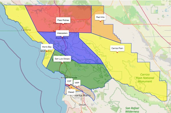 AIR QUALITY ZONES The SLO County Air Pollution Control District is adjusting its air quality zones based on new data for the Oceano Dunes area. - MAP COURTESY OF THE SLO COUNTY AIR POLLUTION CONTROL DISTRICT