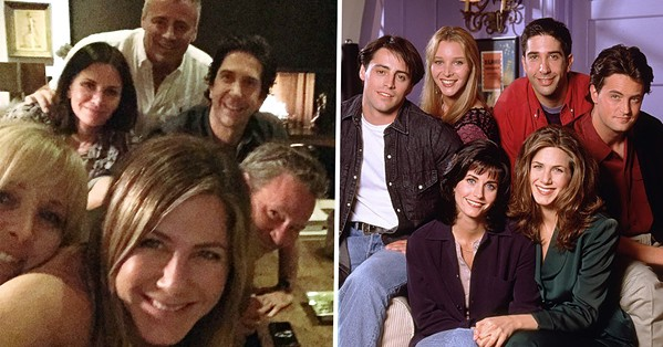 NOW AND THEN The cast—Jennifer Aniston, Matthew Perry, Courteney Cox, Matt LeBlanc, Lisa Kudrow, and David Schwimmer—of the long-running sitcom, Friends, reunite for a TV special screening on HBO Max. - PHOTO COURTESY OF BRIGHT/KAUFFMAN/CRANE PRODUCTIONS
