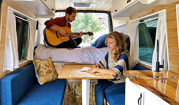 TRAVELERS Trevor Tunison and Nyna Nelson are Fort Vine, a traveling folk duo who crisscrosses the nation in their panel van, sharing their beautiful music with audiences far and wide; this June 12, they'll play Sculpterra Winery as part of Songwriters at Play. - PHOTO COURTESY OF FORT VINE