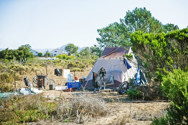 PANDEMIC CLEAR-OUT In October, SLO County cleared out a homeless encampment at the Los Osos Midtown site (pictured). - FILE PHOTO BY JAYSON MELLOM