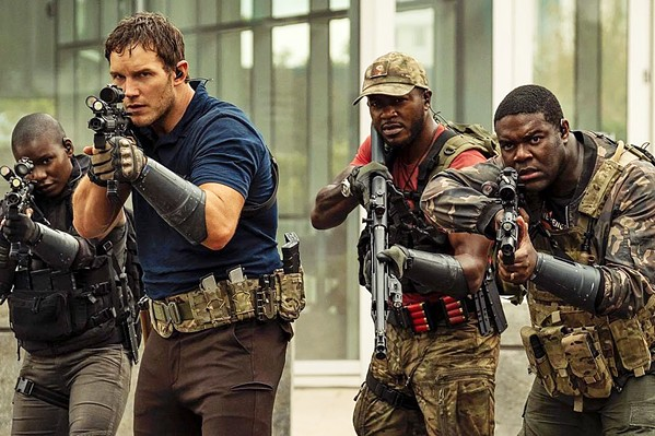 FIGHT OF THEIR LIVES Chris Pratt (second from left) stars as Dan Forester, a high school biology teacher drafted to fight a war 30 years in the future against alien creatures, in The Tomorrow War, screening on Amazon Prime. - PHOTO COURTESY OF SKYDANCE MEDIA AND NEW REPUBLIC PICTURES