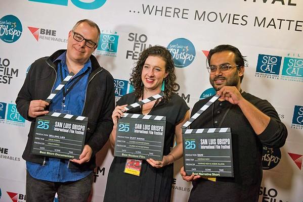 WINNERS Filmmakers Leslie Iwerks, Lauren Schwartzman, and Hammad Rizvi (left to right) took home awards during the 2019 SLO International Film Festival. - PHOTOS COURTESY OF SLOIFF