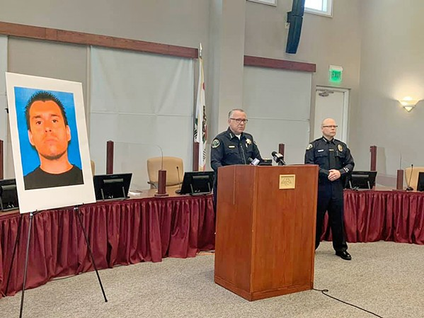 TRAGIC END Paso Robles Police Chief Ty Lewis addresses the media on July 6 after an officer-involved shooting that ended in the death of an armed man who allegedly barricaded himself with a woman in an apartment. - PHOTO COURTESY OF THE PASO ROBLES POLICE DEPARTMENT