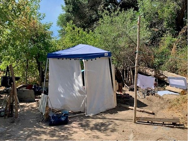 CLEARED OUT Paso Robles police and fire departments worked together to clean camps like these out of the Salinas Riverbed between July 13 and 22. - PHOTO COURTESY OF THE CITY OF PASO ROBLES