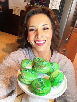 """PORTRAIT OF PISTACHIO """"Making beautiful, delicious handcrafted pastries that put a smile on someone's face and also allow me to honor ... my stepfather [artist Andy Lakey]"""" are what Monika Anderson said her macaron business is all about. - PHOTO COURTESY OF MONIKA'S MACARONS"""
