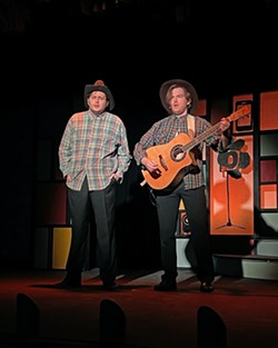 REOCCURRING BIT In a bit of shtick that popped up repeatedly through the performance, Toby Tropper and Mike Fiore show up to sing about a rooster coming to their farm, leading to a musical dad joke. - PHOTOS COURTESY OF THE GREAT AMERICAN MELODRAMA