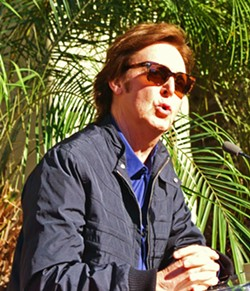 PAUL Mark Brickley's book and multimedia presentation are filled with his original photographs, including this one of Paul McCartney speaking at the installation of his star on the Hollywood Walk of Fame. - PHOTO COURTESY OF MARK BRICKLEY
