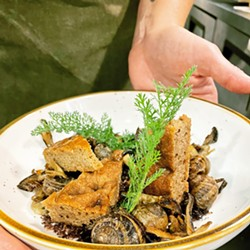 FROM THE FOREST Fresh yarrow and pine bark bread enhance chef Rachel Ponce's seasonal Forage entrée, featuring basil- and tarragon-fed escargot poached in Dead Oak English brown ale. - PHOTO COURTESY OF PAIR WITH DEAD OAK